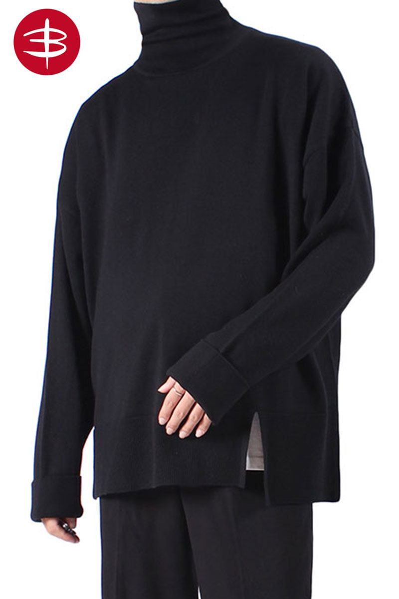 이태리 바루파 원사Side slit Oversize Turtle Neck Knit